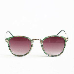 A.J. Morgan Castro green floral gold trim glasses